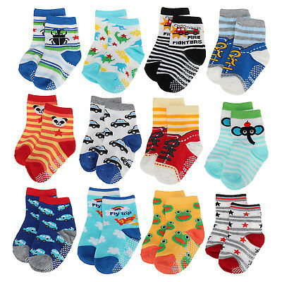 12 Pairs Baby Toddler Socks Anti-Slip Non-Skid with Grips Unisex 2T & 3T Walker