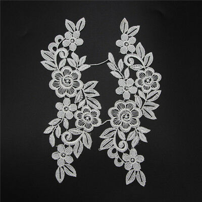 1 Pair Lace Trim Applique Sew Bridal Dress Flower Leaves Crafts Two Colors New