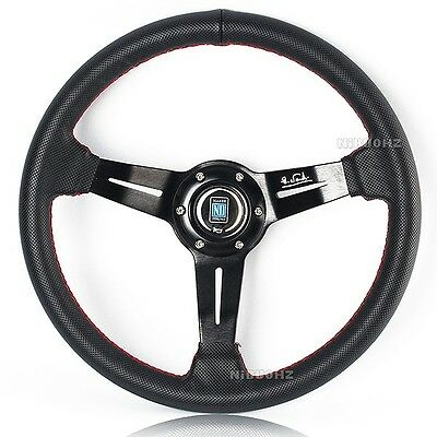 "NARDI 14"" Black Leather Spoke Red Stitching Dished Sport Steering Wheel w Horn"