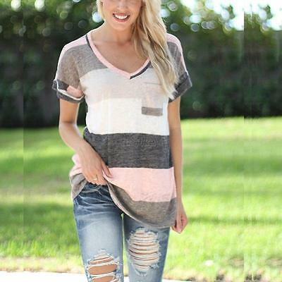 Fashion Ladies Blouse Summer Loose Tops V Neck Short Sleeve Casual Tops T-Shirt