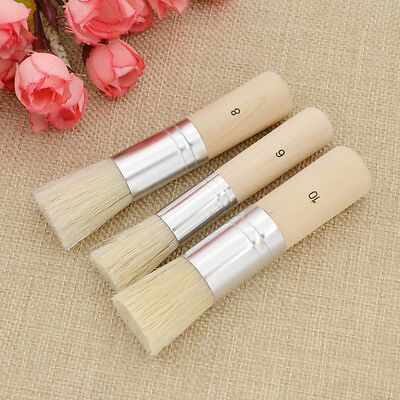 3 Pcs Art PaintBrush Extra Large Pure Bristle Stencil Brushes Set Crafts Tools