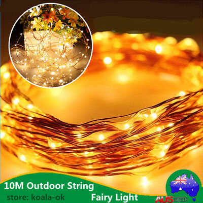 Solar Powered Warm White 10M 100LED Copper Wire Outdoor String Fairy Light UO