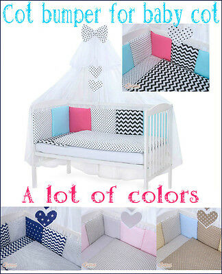 Cot bumper made with 12 pillows for baby cot 120x60 cm! different colors!