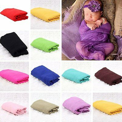 Newborn Baby Photography Props Blanket Rayon Stretch Knit Wraps 40*150cm NEW UO