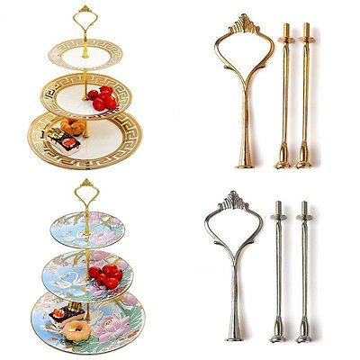 6Colors Crown Rod 3 Tier Cake Cupcake Plate Stand Handle Hardware Fitting Holder