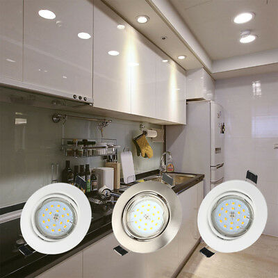 4X/10X Tilt Mains Fitting Recessed Ceiling Downlight Spotlight Adjust For GU10