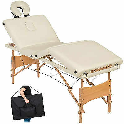 Table de massage 4 zones cosmetique lit esthetique pliante bois reiki blanc +sac