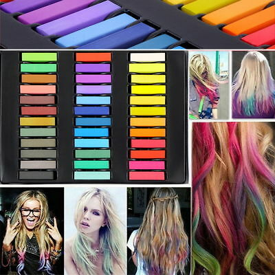 6 12 24 36 Colors Non-toxic Temporary Hair Chalk Dye Soft Pastels Salon Kit UO