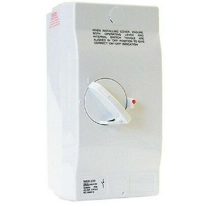 ABB ISOLATOR SWITCH WSD220 20A Rated Current, 2-Poles, IP66 Surface Mount, White