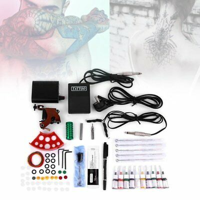 Complete Tattoo Kit Set Equipment Machine Needles Power Supply Gun Inks UO