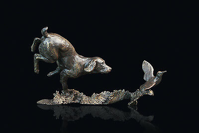 Cocker Spaniel with Woodcock Solid Bronze Sculpture By Michael Simpson Ltd Ed