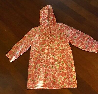 Girls RAIN COAT JACKET Size 6 6X Pink Spring Floral Buttons Hooded Lined Pluie