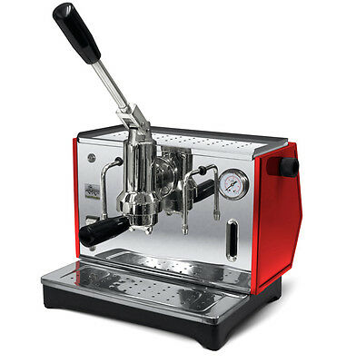 USED Ponte Vecchio LUSSO Red Manual Lever Espresso Cappuccino Coffee Machine