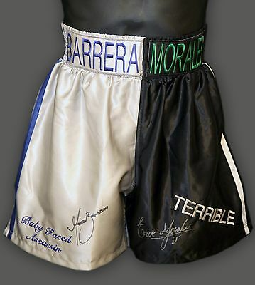 *New* Marco Antonio Barrera and Erik Morales Signed Custom Made Boxing Trunks  A