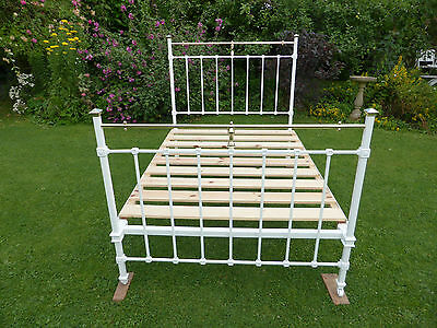 "Double Edwardian Cast Iron + Brass Bed. 4ft 6"" Antique White. Restored"