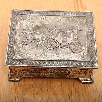Vintage Hinged Metal Trinket Jewelry Box Embossed Stage Coach
