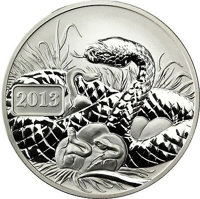 Tokelau 5 Dollars 2013 Lunar Snake Silver Ounce reverse proof coin