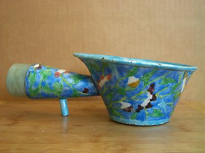 Antique Chinese Qing Enameled Bowl Iron w Jade ? Archer's Ring stone censer