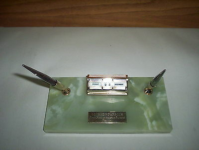 2 Sheaffer Pens Holder & Day Calendar Set 1980 First Port of Goderich ON Banquet