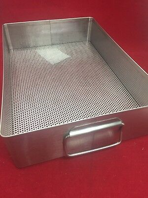 "X MEDIN Stainless Instrument Tray w/Handles & Perforated Bottom 15""x10.5""x3.5"""