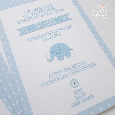 ELLIOT /ELLIE Personalised Invitations Christening Baptism Baby Shower Blue/Pink