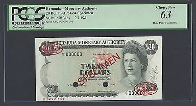 Bermuda 20 Dollars 2-1-1981 P31cs Specimen TDLR N001 Uncirculated
