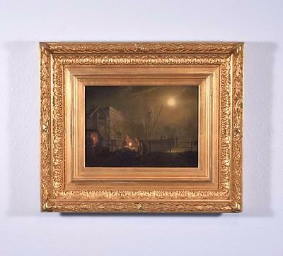 French Antique Oil on Canvas Painting of a Night Scene Signed, Dated 1874