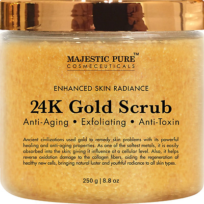 24K Gold Body Scrub and Facial Scrub from Majestic Pure, 8.8 Oz - Ancient Anti A