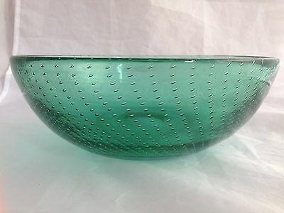 """Vintage 10"""" TEAL GREEN CONTROLLED BUBBLE ART GLASS BOWL"""