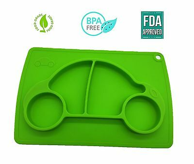 Kids Placemat Cars Shaped Silicone Plate - Children / Baby Plate sets - Green Co