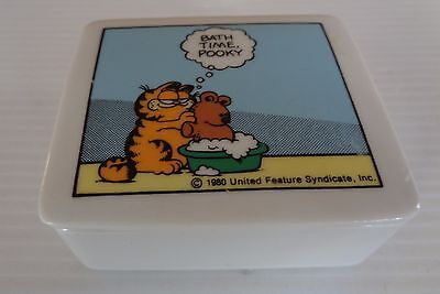 "Vintage Enesco ""Garfield"" Cat by Jim Davis Ceramic Trinket Box ""Bath Time Pooky"""