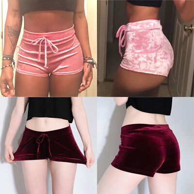 Women's Ladies Crushed Velvet Runner Casual Fashion Shorts High Waist Hot Pants