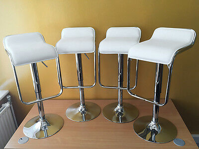 4 x Chrome and White Leatherette Bar Stool Breakfast Bar Gas Lift Leather Modern