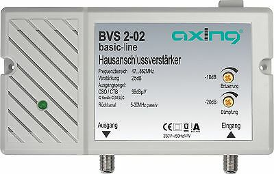 Axing BVS 2-02 cable tv CATV amplifier 25 dB 98 dBV output 47-862 MHz passive...