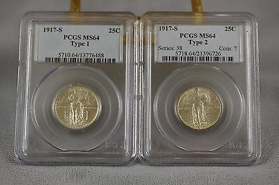 Two 1917-S Bu Silver Standing Liberty Quarters - Both Pcgs Ms 64