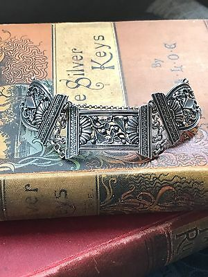 Antique Victorian Silver Panel Bracelet Flowers Leaves Heavy c1880 1890