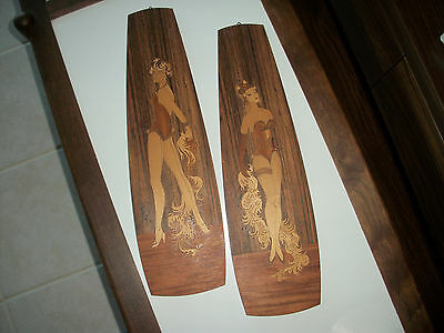 """2 Vintage Inlaid Marquetry Wall Art Burlesque Show Girl Made in Italy 18"""" tall"""