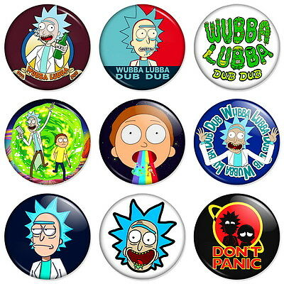 "RICK AND MORTY 25mm 1"" Pin Badge Button WUBBA LUBBA DUB DUB DON'T PANIC"