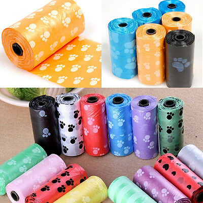 Pet Dog Waste Poop Bag Poo Printing Degradable Clean-up Dispenser Doggy