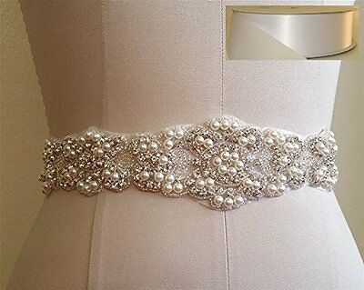 TRLYC White Handmade Wedding Dress Bridal Sash Belt Appliques Rhinestone Satin