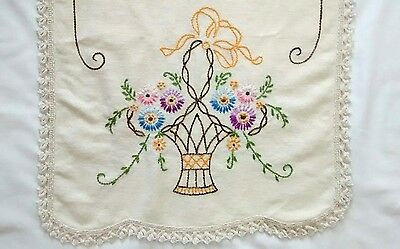 Hand Embroidered Crocheted Edge Table Runner Dresser Scarf Floral Basket