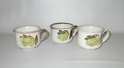 Denby Troubadour 3 Tea Cups Only Green Brown Flowers Stoneware England
