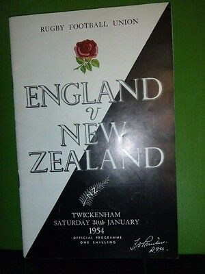 England V New Zealand  Rugby Programme 1954