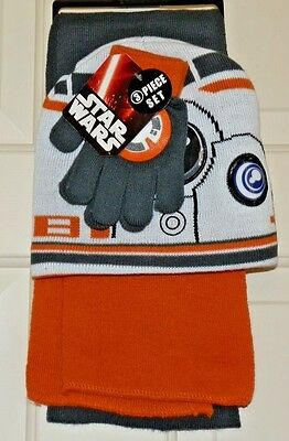 New Boys Star Wars BB-8 Knit Hat Gloves Scarf 3 piece set Beanie