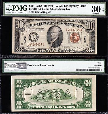 "Awesome Choice VF+ 1934 A $10 ""HAWAII"" FRN Note! PMG 30 EPQ! FREE SHIP L44102027"