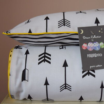 100%COTTON Single Cot Bed Duvet Cover Set reversible black & white arrow stripes