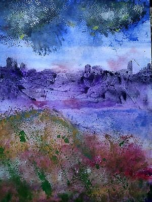 Purple Storm  Abstract Art Original Watercolour   Painting Signed by Artist