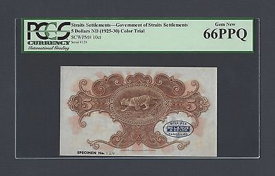 Straits Settlements 5 Dollars ND(1925-30) P10ct Uniface Color Trial Uncirculated