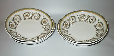 """Susie Cooper Venetia 4 Cereal Bowls 6 1/4"""" Brown Scroll Wedgwood England Signed"""