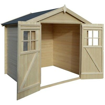 Garden Log Cabin Wooden Timber Shed Tool Outdoor Box Mower Patio Store Cabinet